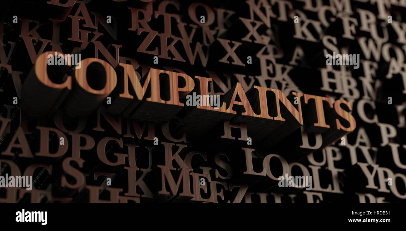 Complaints - Wooden 3D rendered letters/message.  Can be used for an online banner ad or a print postcard. - Stock Image