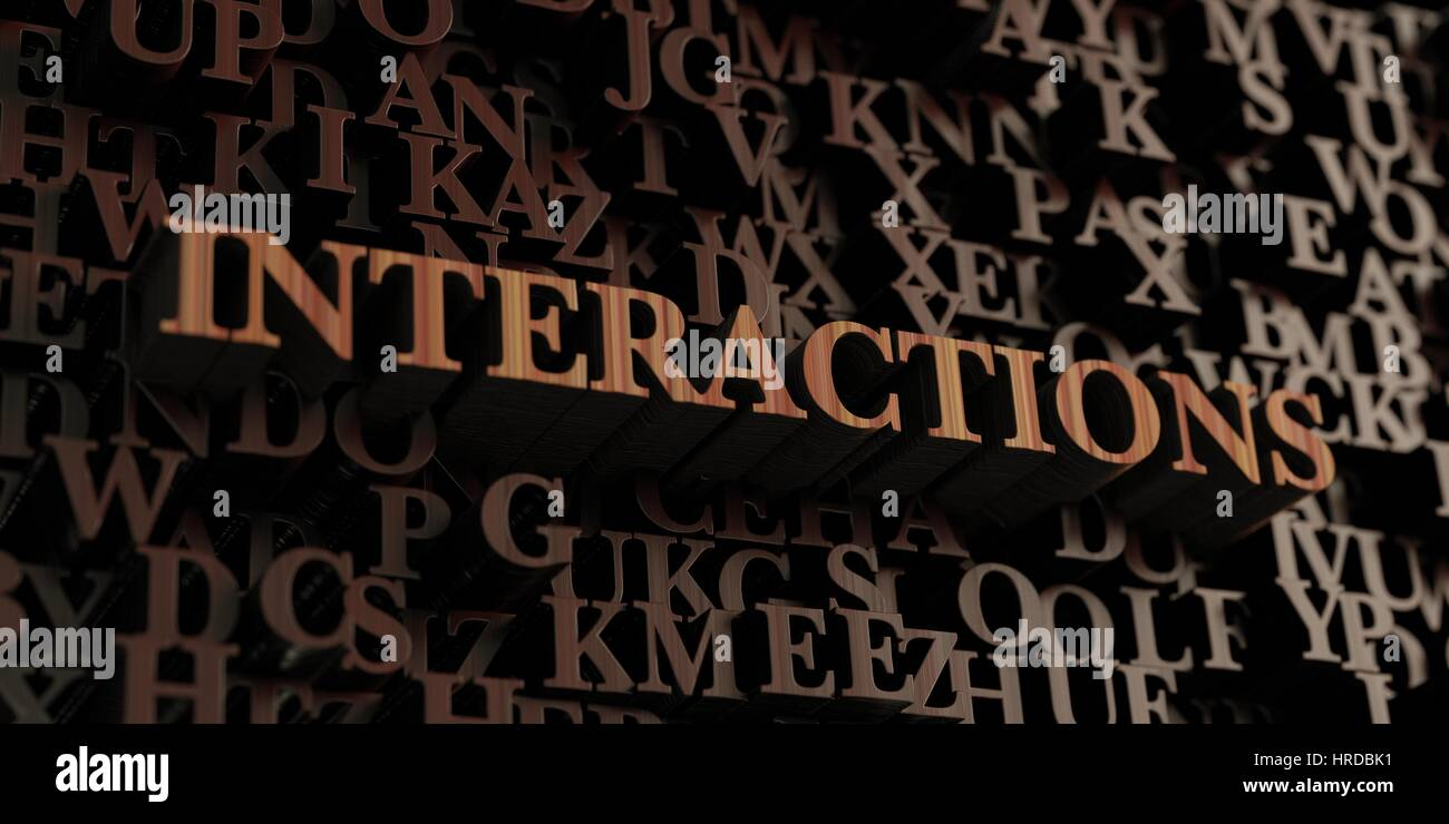 Interactions - Wooden 3D rendered letters/message.  Can be used for an online banner ad or a print postcard. - Stock Image