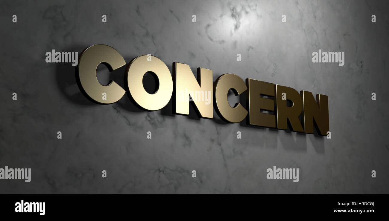 Concern - Gold sign mounted on glossy marble wall  - 3D rendered royalty free stock illustration. This image can - Stock Image