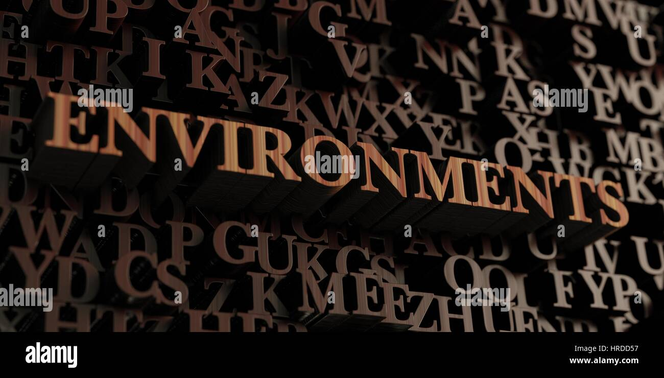 Environments - Wooden 3D rendered letters/message.  Can be used for an online banner ad or a print postcard. - Stock Image