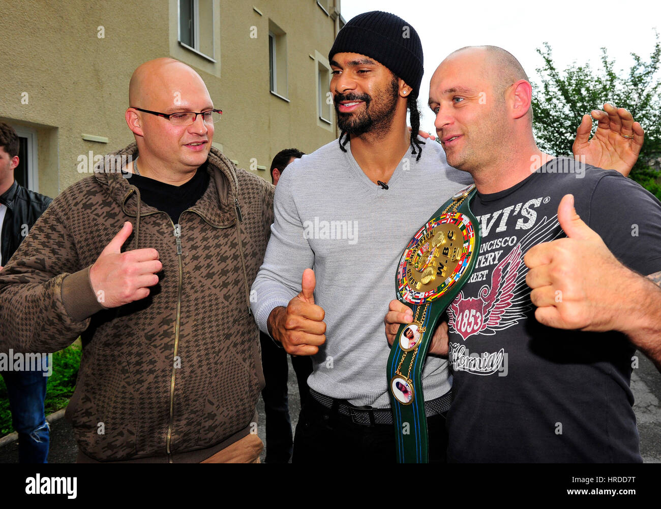 British boxer David Haye signs autographs as he arrives at Hotel before he gets a Luxembourg Licence from Luxembourg - Stock Image