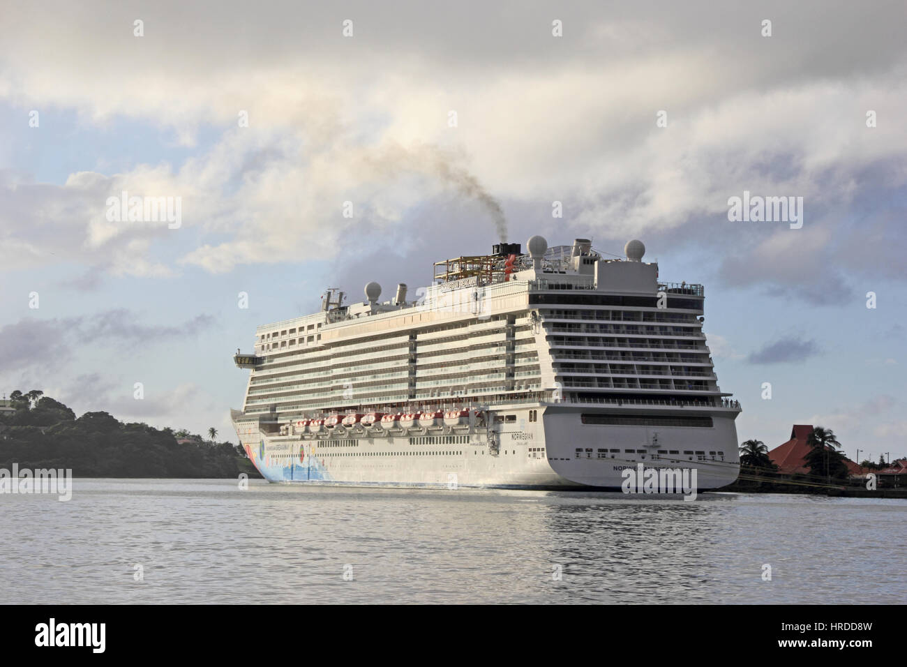 Norwegian Cruise Line ship Norwegian Breakaway, moored in harbour, Castries, St Lucia - Stock Image