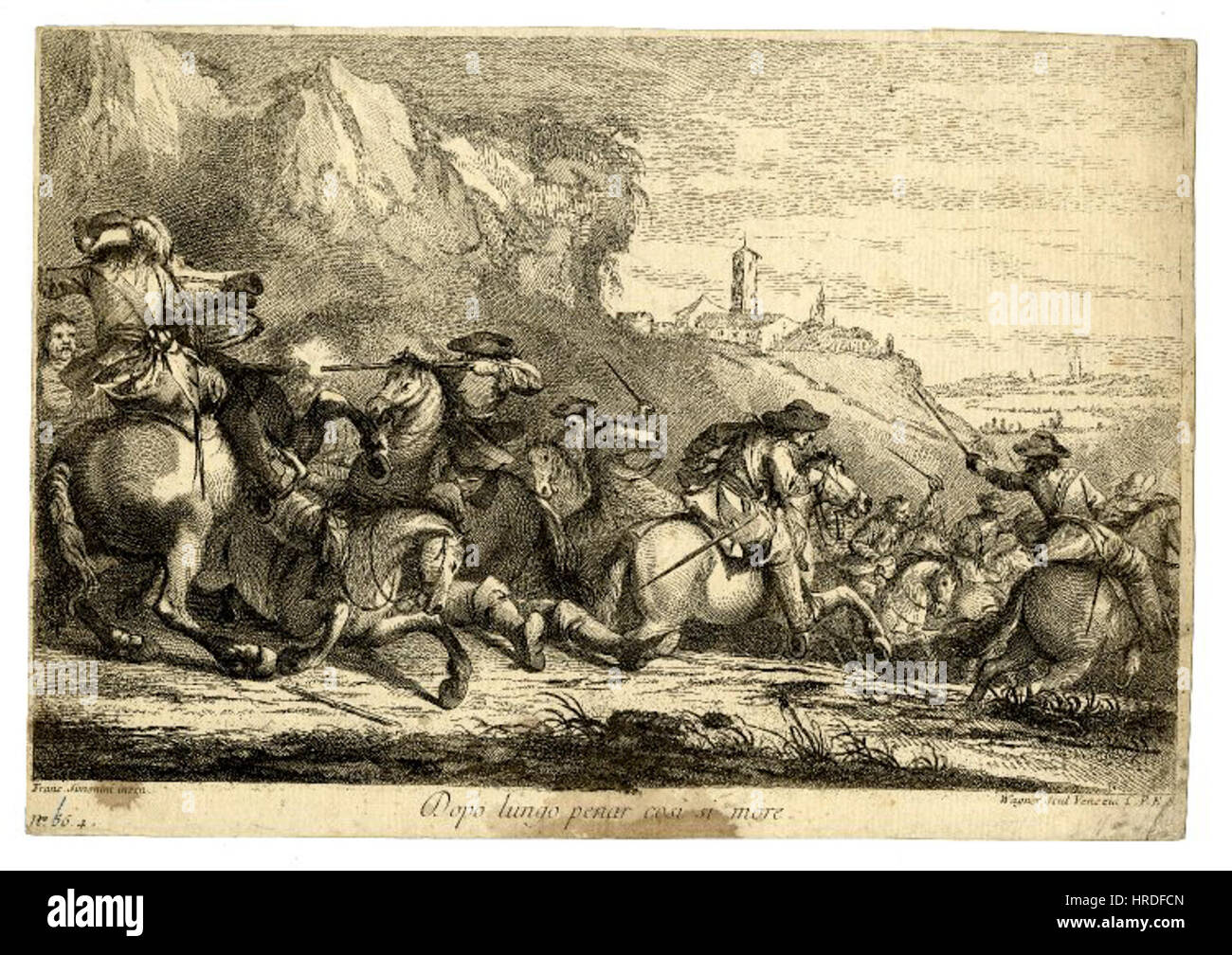 Battle scene with a cavalry skirmish - Stock Image
