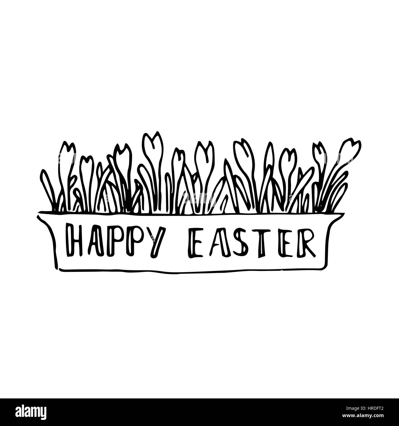 happy easter card with spring flowers lettering blossoming stock