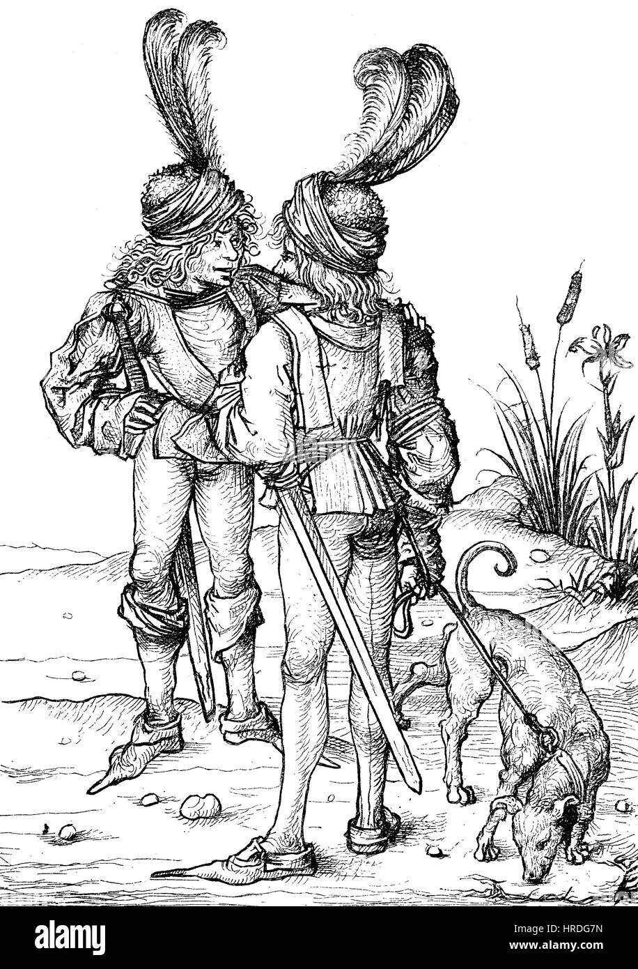 Young, German noble persons with dog in the 15th century, facsimile of copper engravings, reproduction of an woodcut - Stock Image