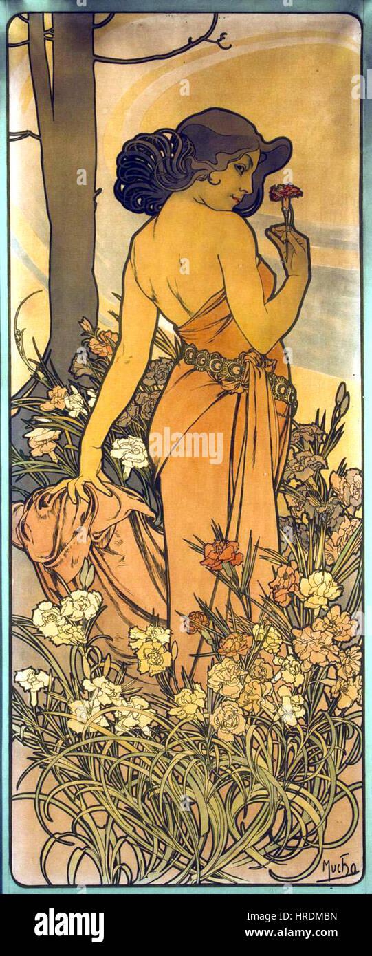 Alfons Mucha Nelke 1898 - Stock Image