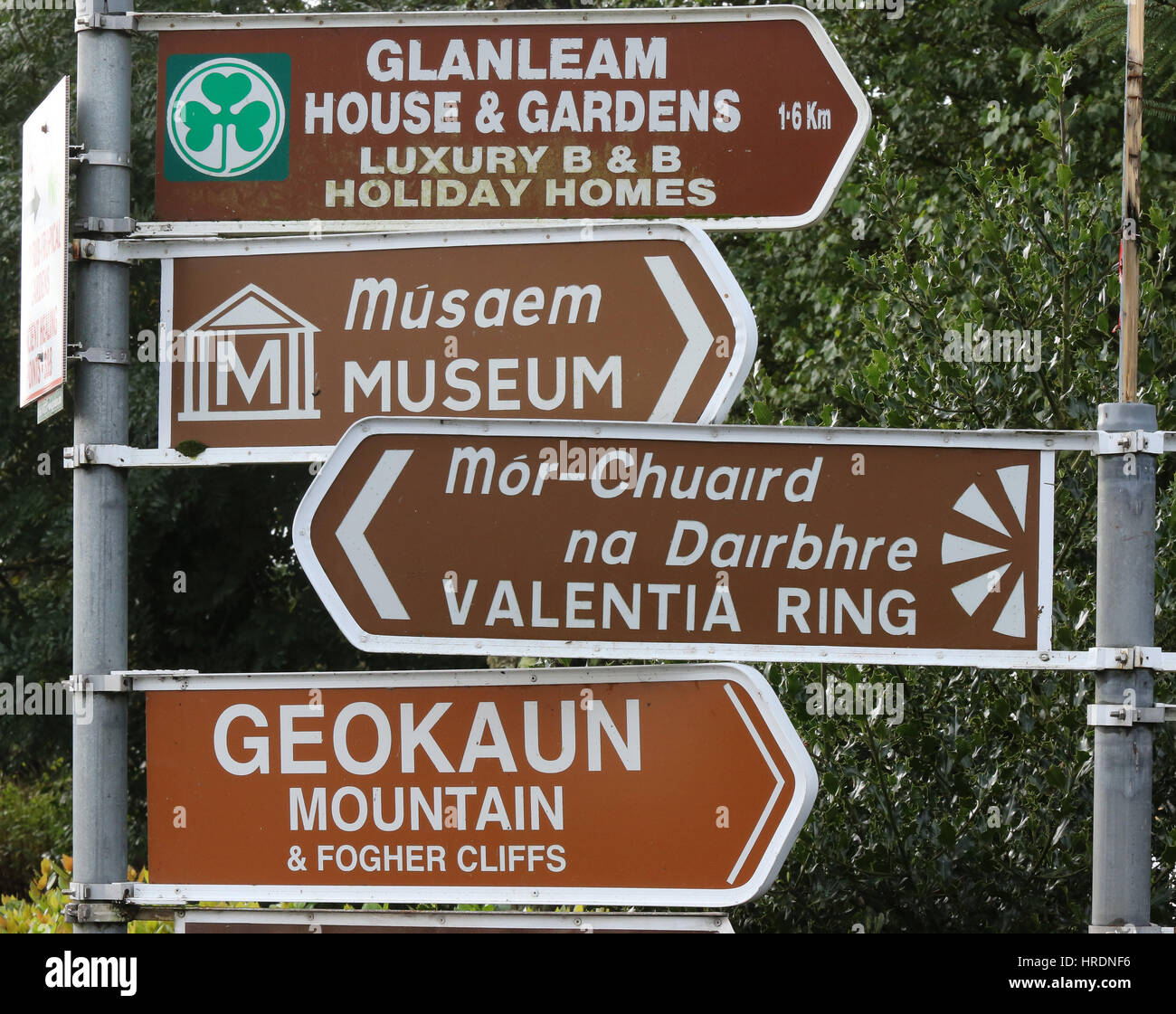 Direction signs to tourist places and tourist attractions on Valentia Island, County Kerry, Ireland. - Stock Image