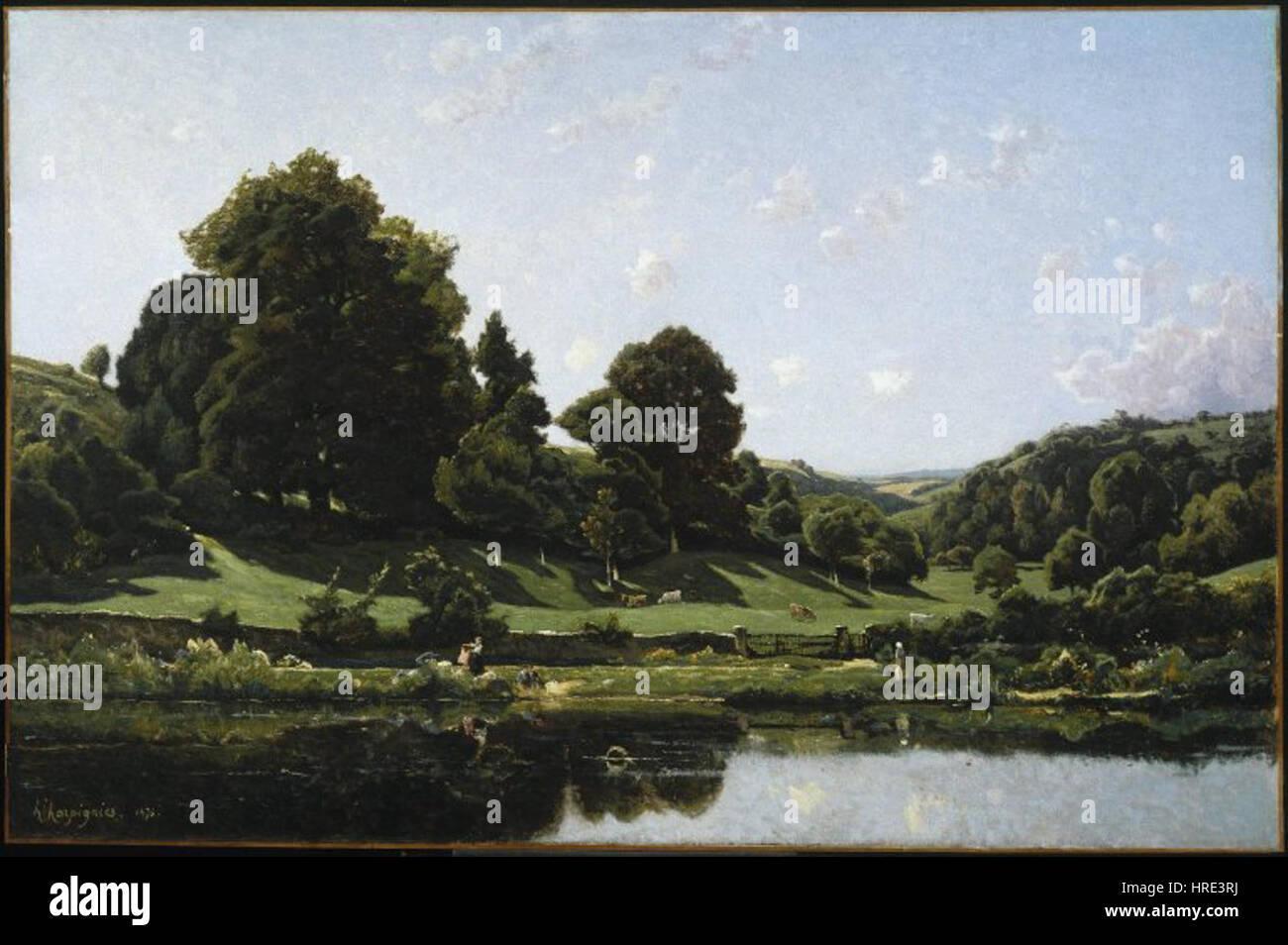 Brooklyn Museum - A Meadow in the Bourbonnais Morning (Une Prairie du Bourbonnais par un effet de matin) - Henri - Stock Image