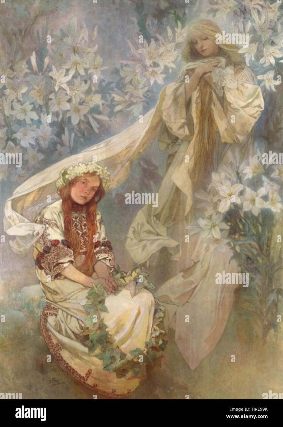 Madonna of the Lilies (1905) - Alfons Mucha - Stock Image