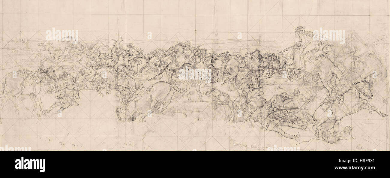George W. Lambert - The charge of the 4th Light Horse Brigade at Beersheba - Google Art Project - Stock Image