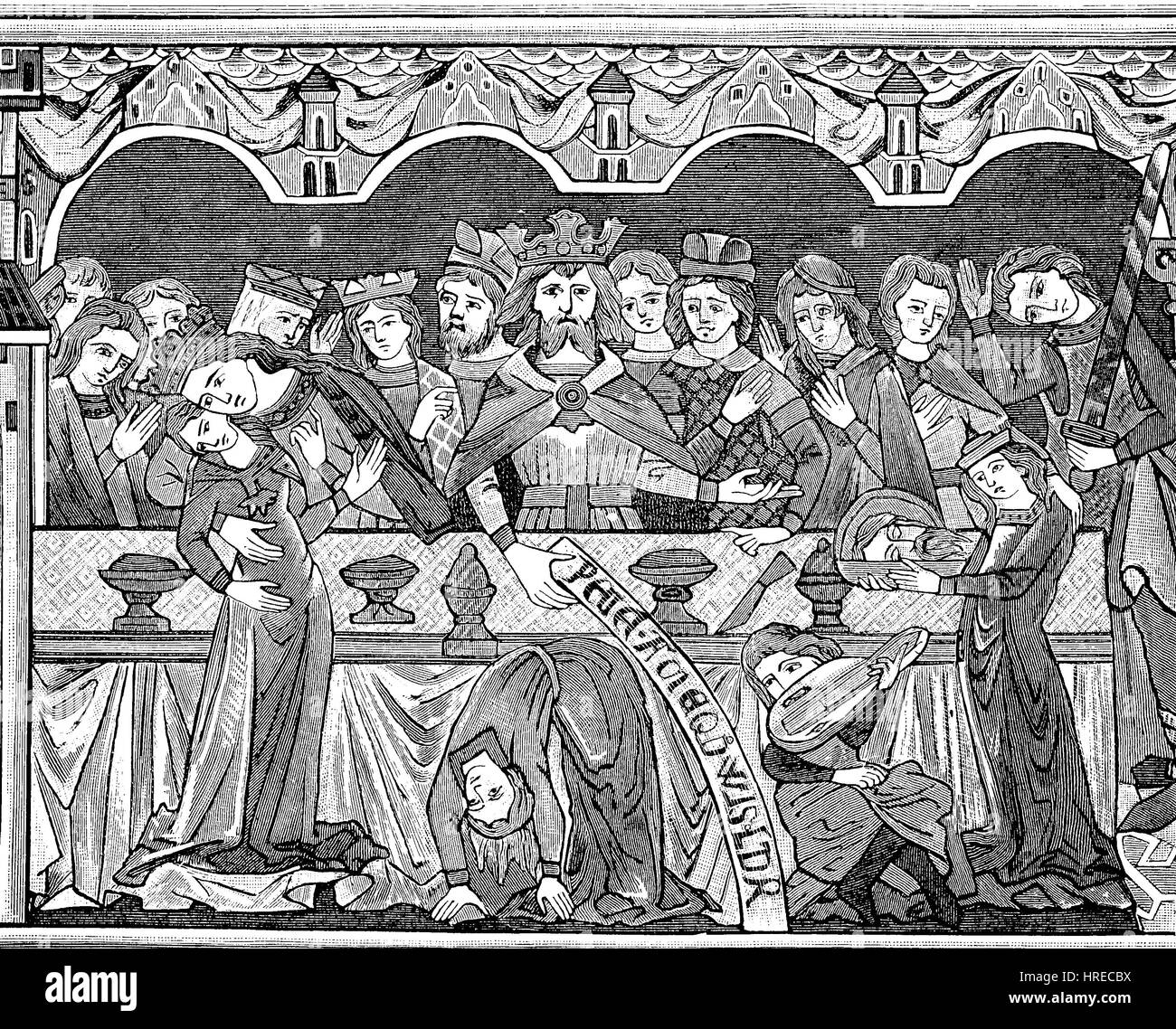 Princely festive table with entertainments by dancers and dancers at the end of the 12th century, wall painting - Stock Image