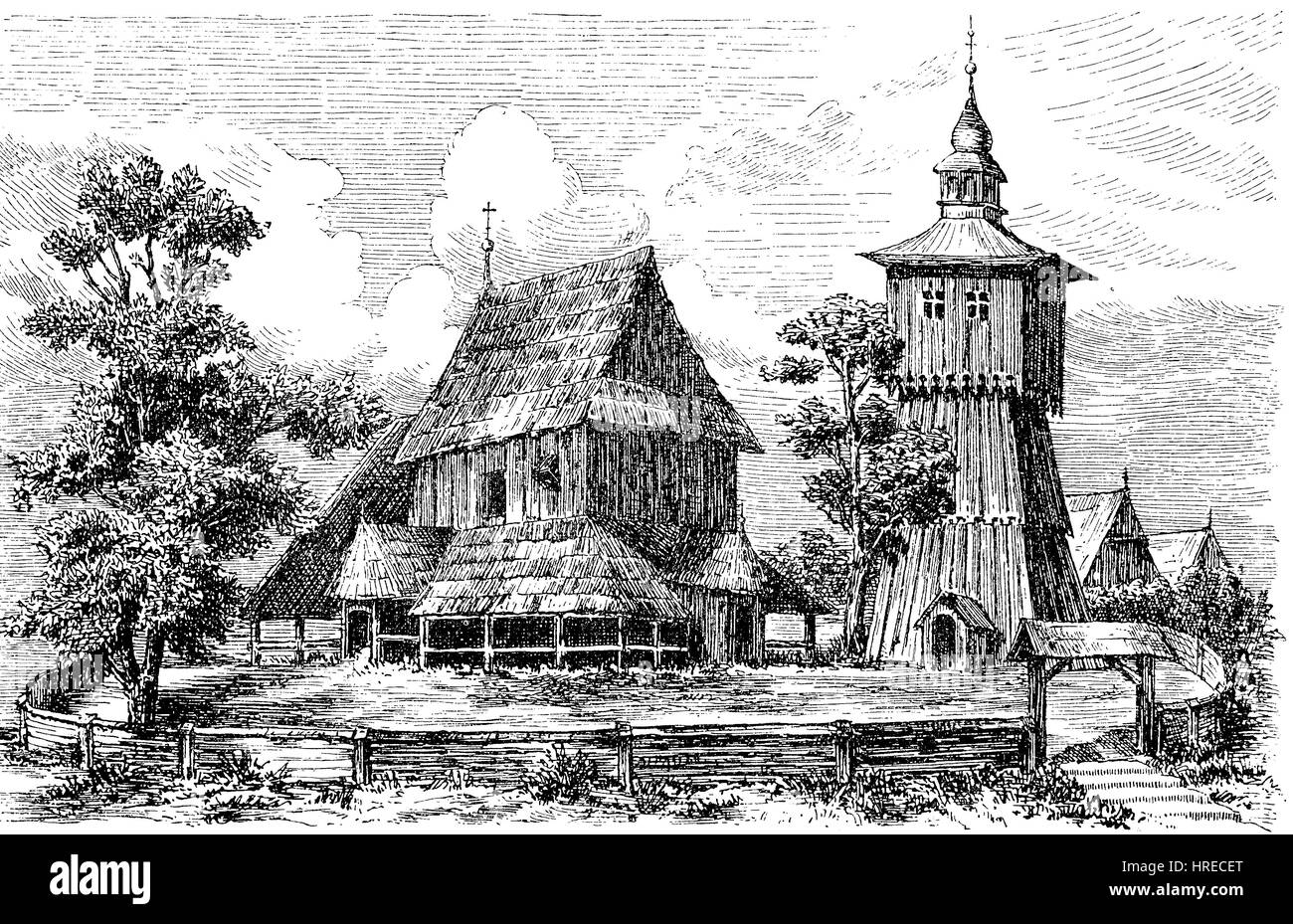 Church of oak logs in Ludom, Lubom from the 13th century, Silesia, Poland, reproduction of an woodcut from the 19th - Stock Image