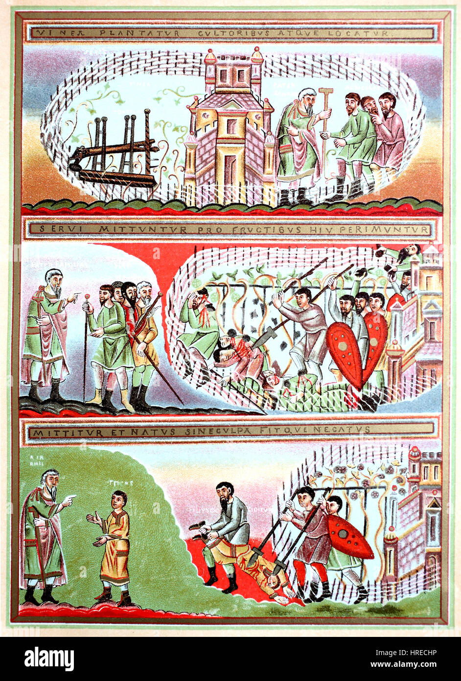Illustrations of the parable of the vineyard, miniatures in the gospelbook of the monastery Echternach, 10th century, - Stock Image