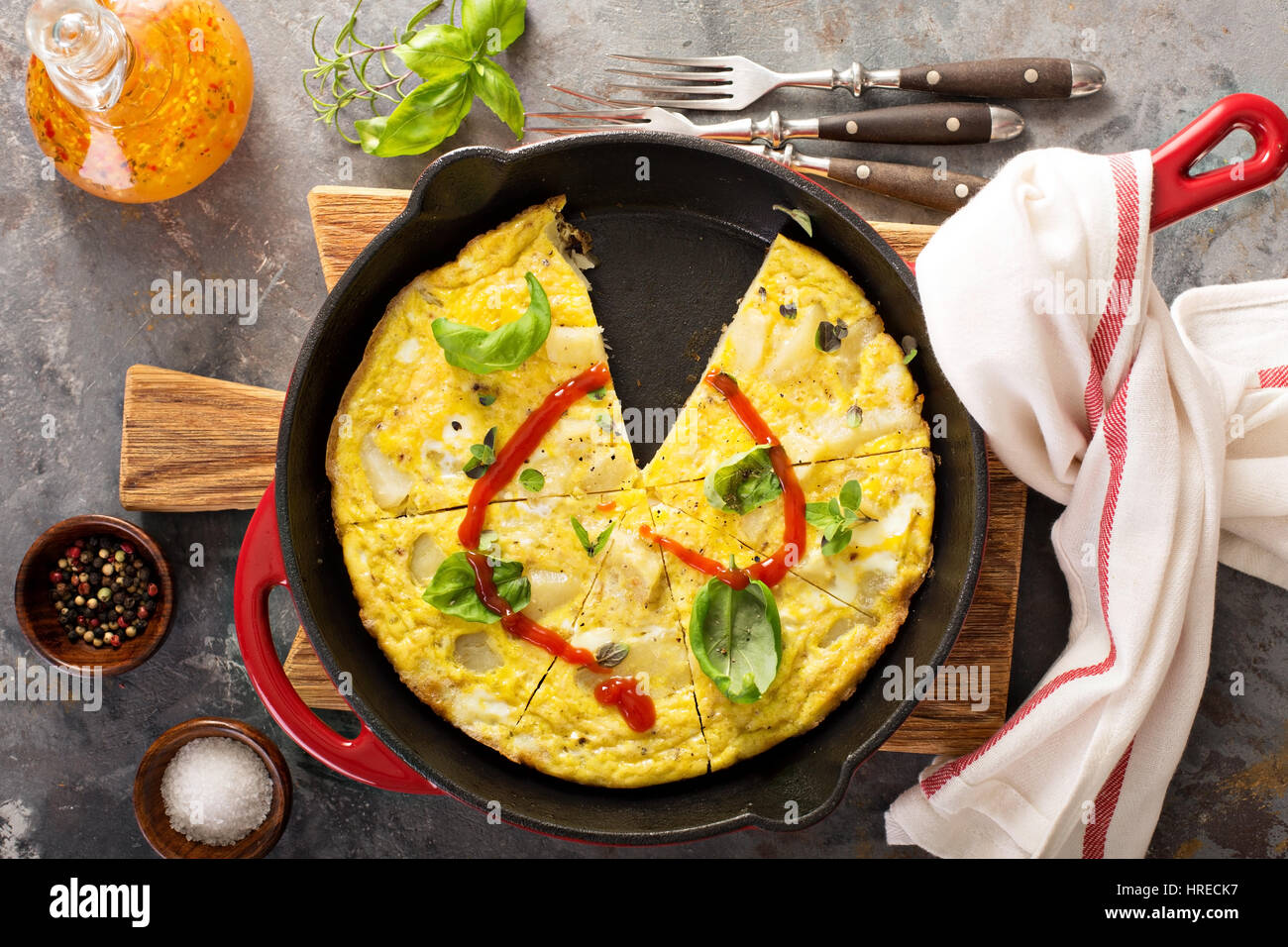 Potato and herbs fritatta - Stock Image