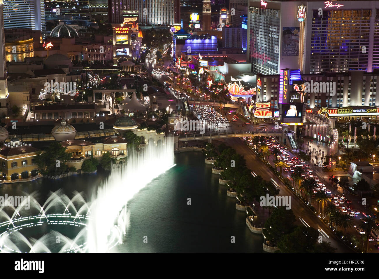 Las Vegas, Nevada, USA - October 6, 2011:  Fountains near Bellagio and Caesars Palace on the Las Vegas strip. - Stock Image