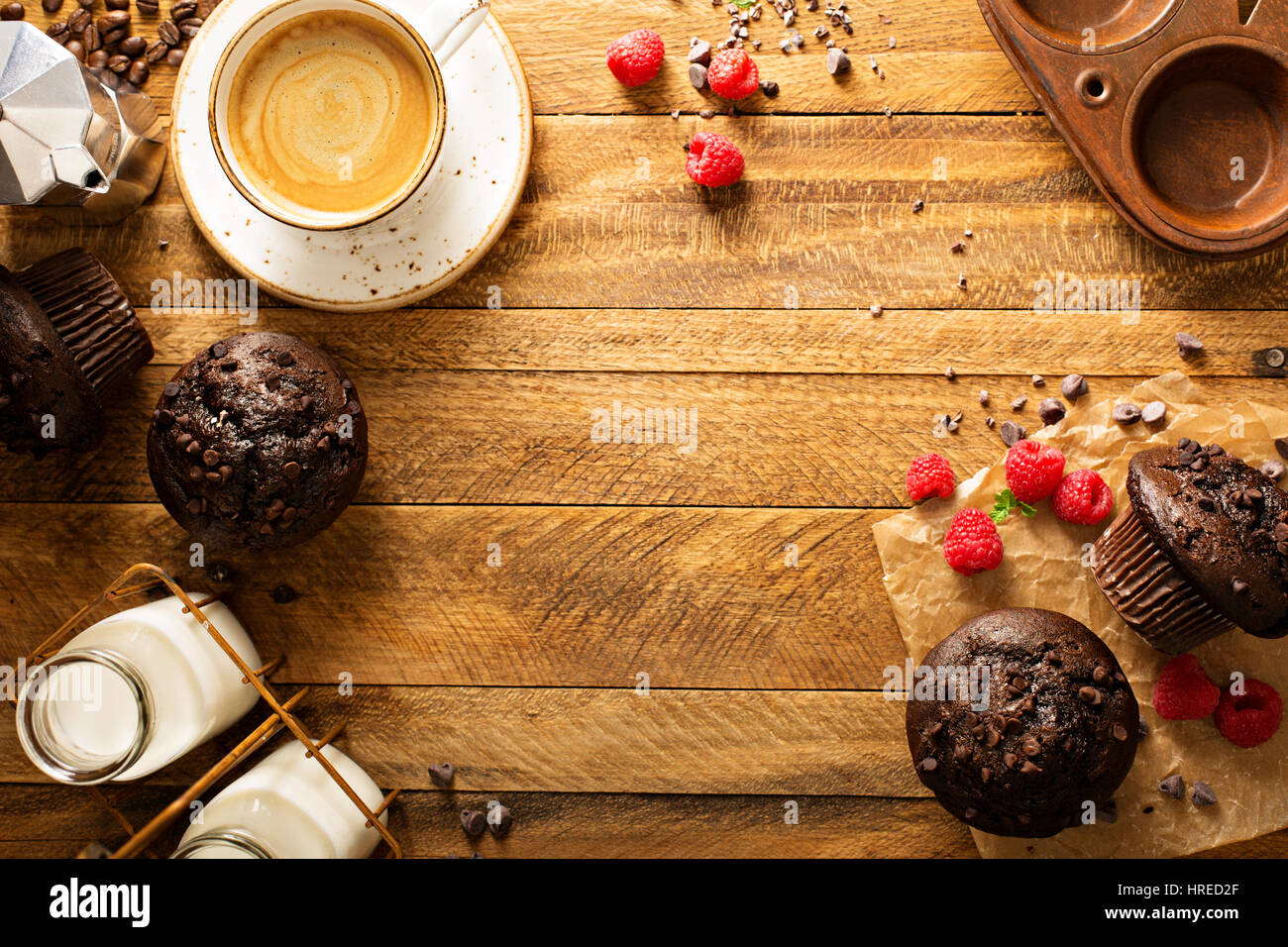 Double chocolate muffins with raspberry - Stock Image