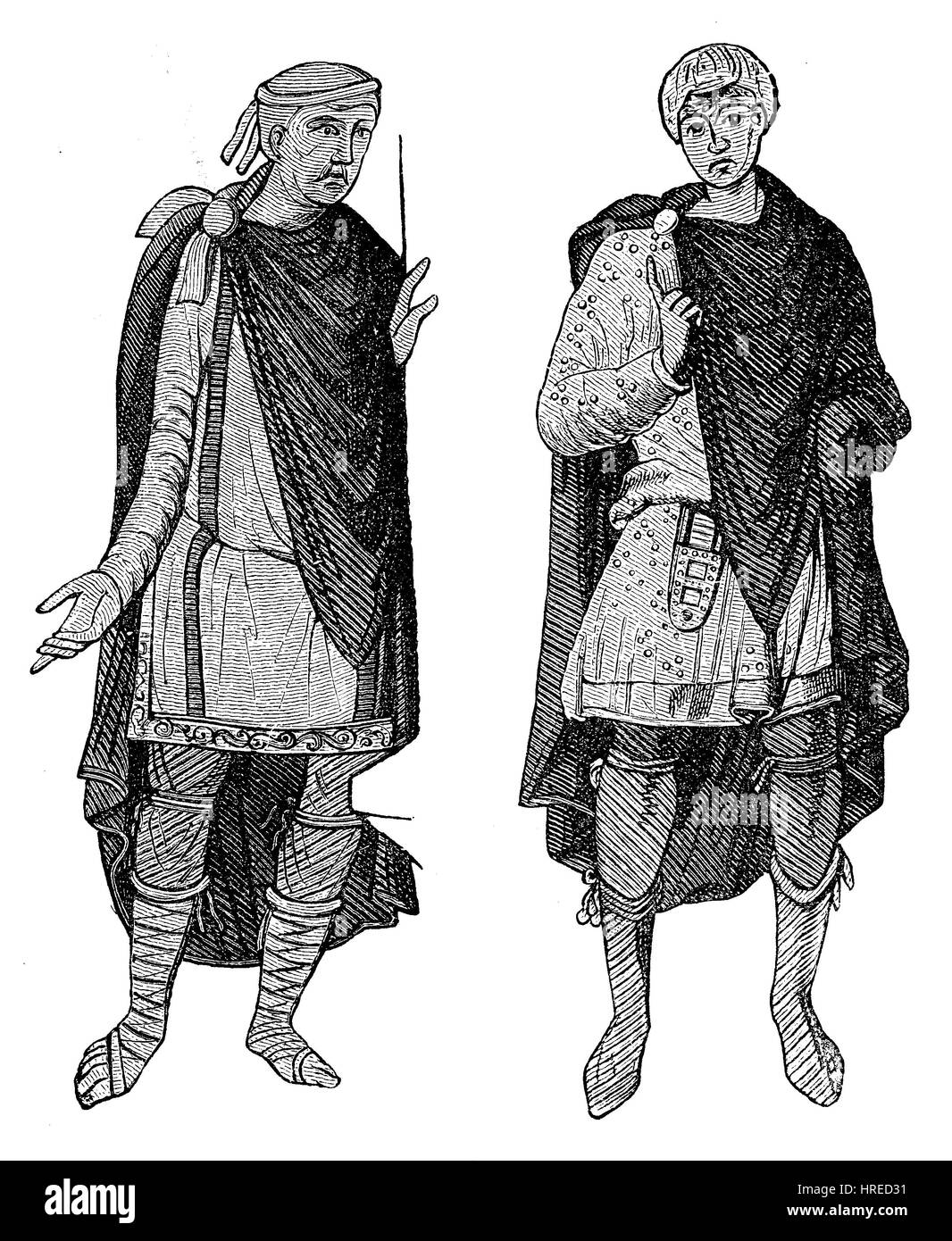 Germanic costumes from the fifth to eighth century, Germany, reproduction of an woodcut from the 19th century, 1885 - Stock Image