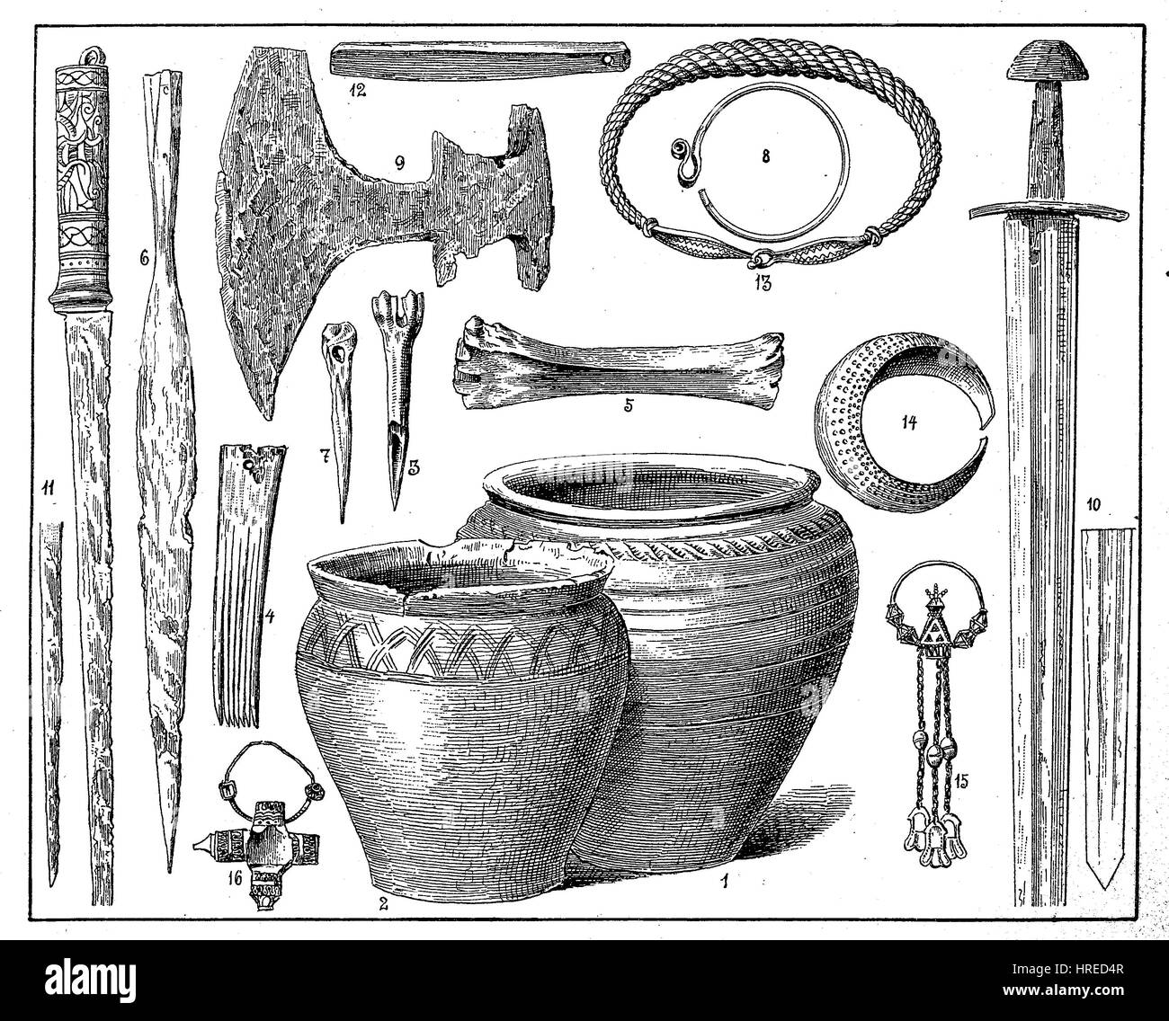 Weapons, jewelry and equipment, finds from graves of the Slavic period, Germany, reproduction of an woodcut from - Stock Image