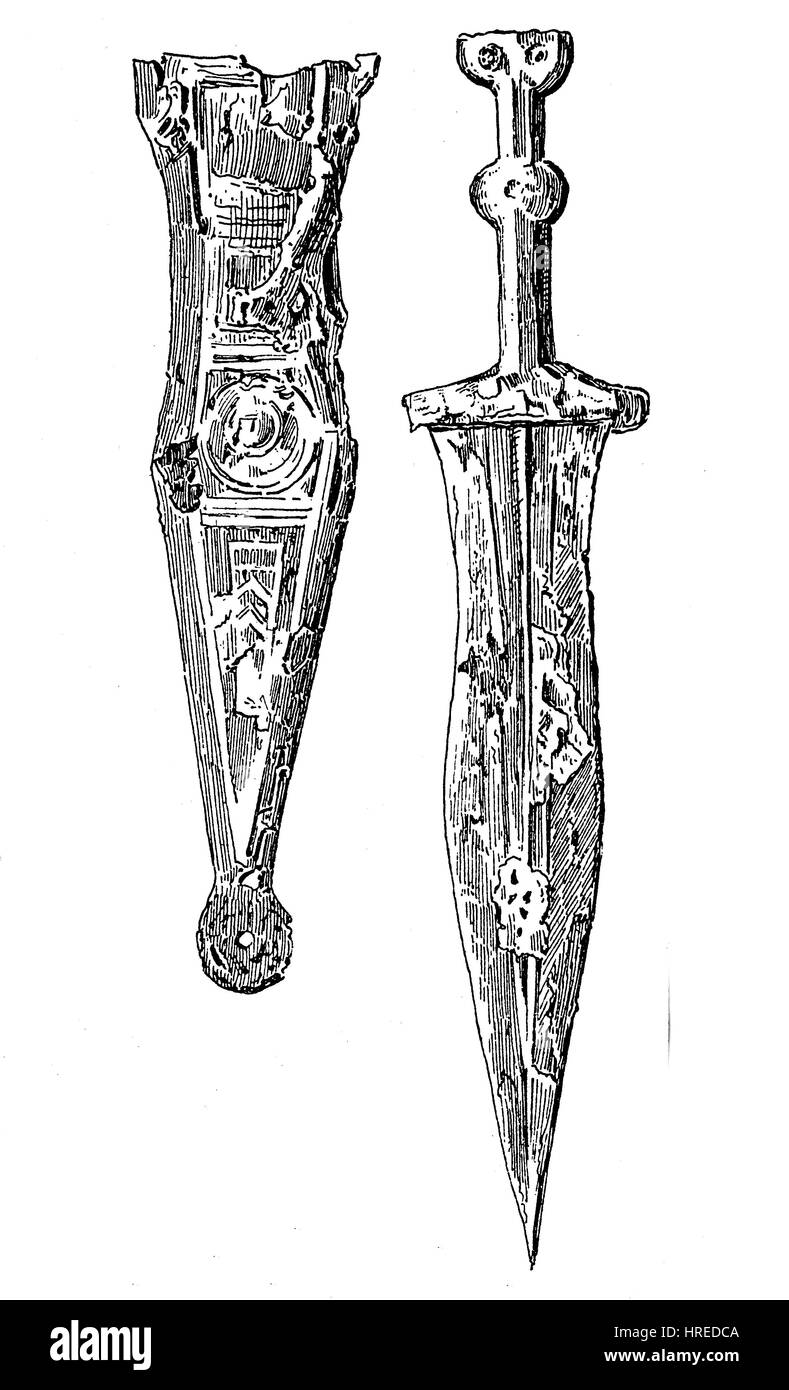 Weapons from the Roman period, an iron dagger with an associated iron sheath, Germany, reproduction of an woodcut - Stock Image