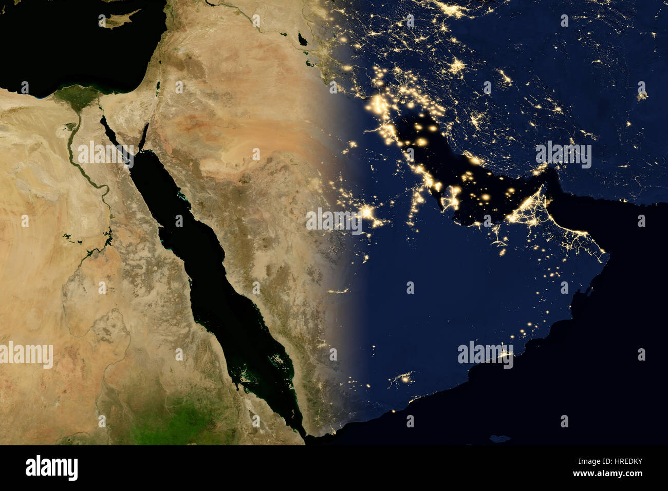 City lights on world map. Arabian Peninsula. Elements of this image are furnished by NASA - Stock Image