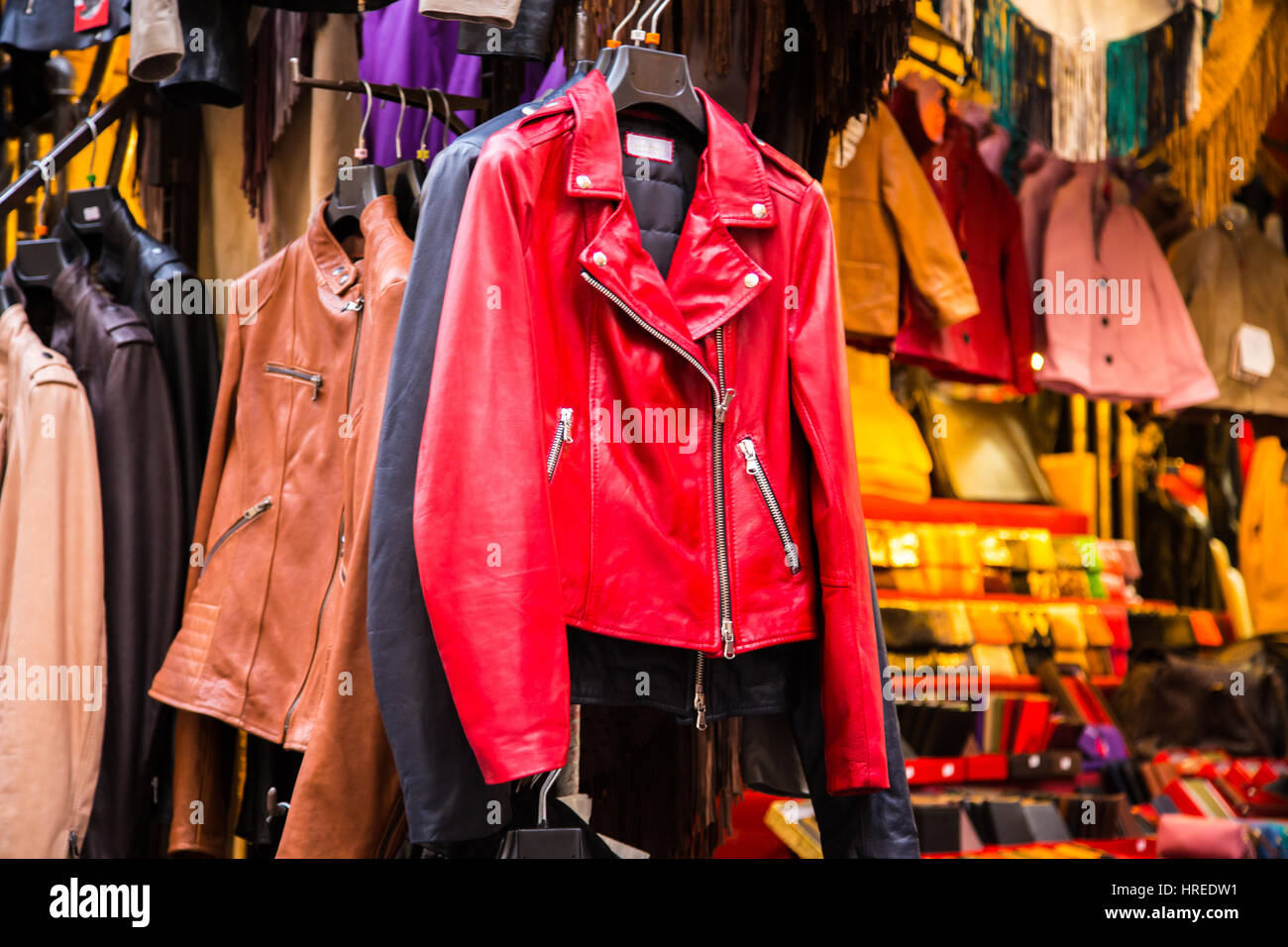 Red leather jacket in Mercato Nuovo in Florence Italy - Stock Image