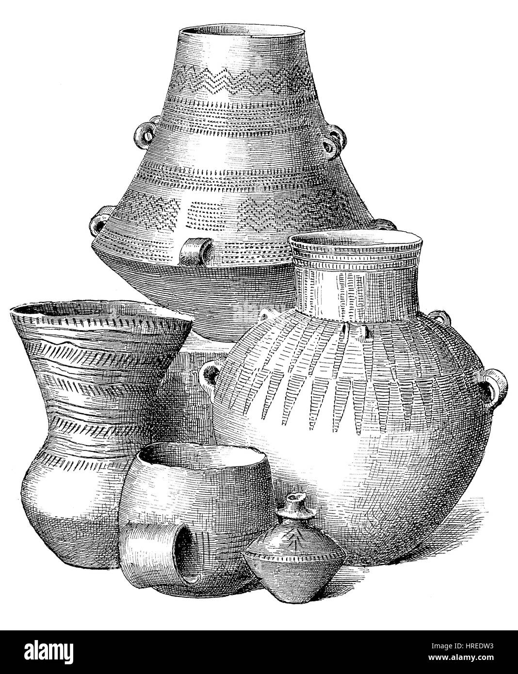 Five different vessels from clay of the younger Iron Age, Germany, The Neolithic Age, Era, or Period, or New Stone - Stock Image