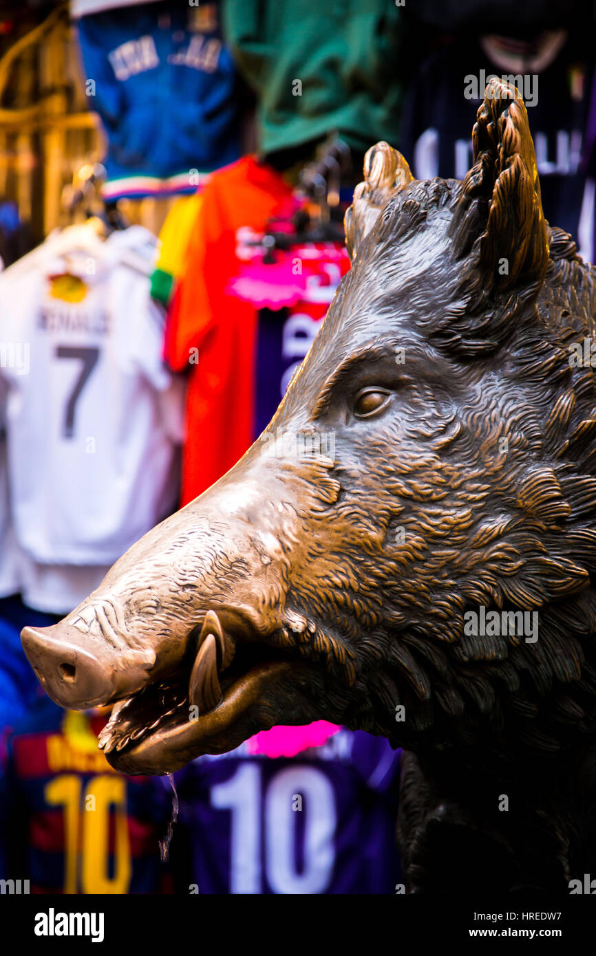 The bronze statue of a boar known as Il Porcellino in Mercato Nouvo Florence Italy - Stock Image