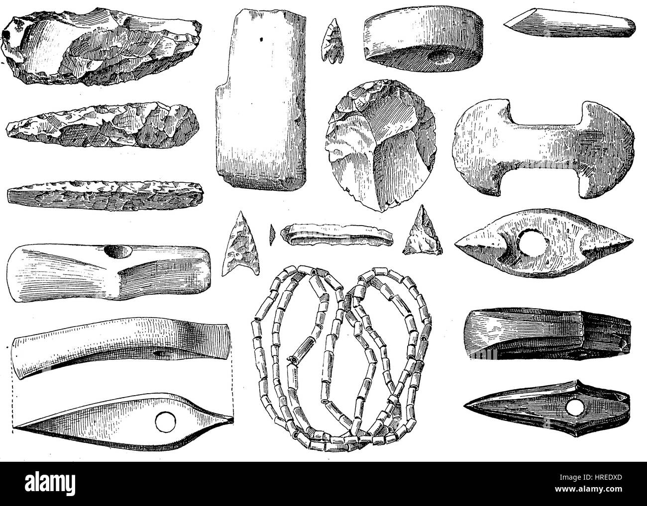 Weapons, jewelry and utensils from the Stone Age, Germany, reproduction of an woodcut from the 19th century, 1885 - Stock Image