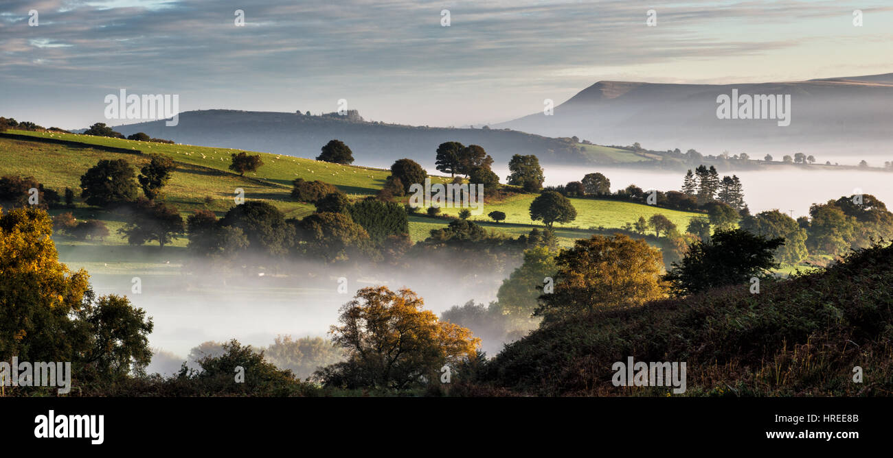 View above Talybont on Usk from Tor y Foel in the Brecon Beacons - Stock Image