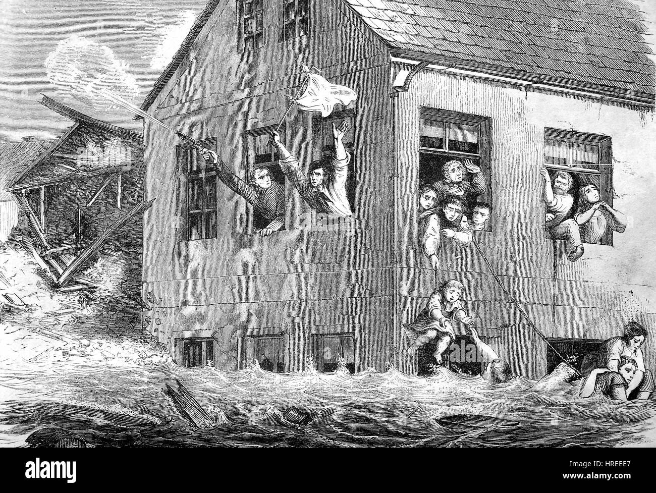Water flood, rescue scene of persons from a house, Saxony, Germany, 1854, an article in - The Gartenlaube - Illustrated - Stock Image