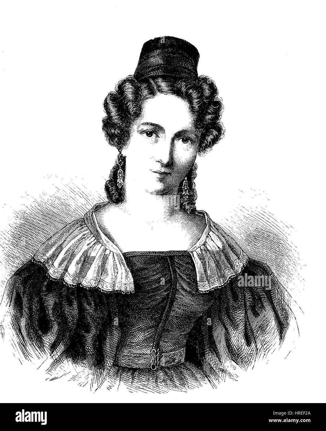 Charlotte Stieglitz, born Willhoeft, 18 June 1806 - 29 December 1834 was a German writer, reproduction of an woodcut - Stock Image