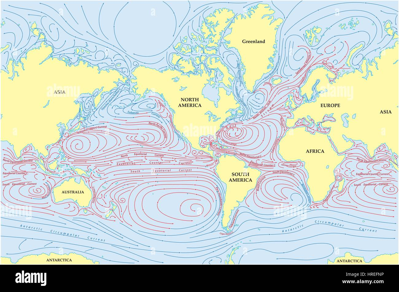 Vector world map of all sea currents stock vector art illustration vector world map of all sea currents gumiabroncs Gallery
