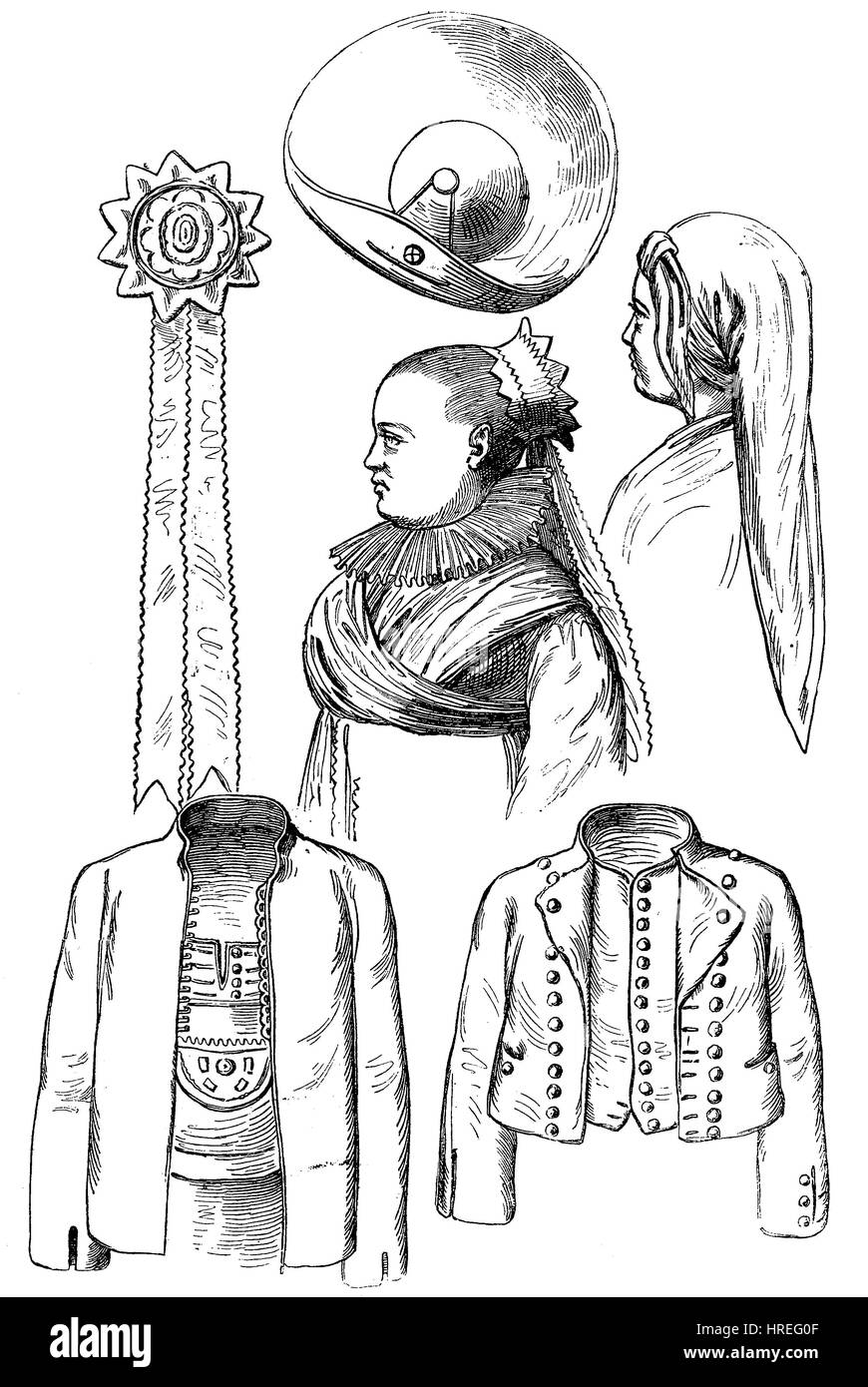 Various garments of the festive costume of the bumblebees, Hummeln, of Mistelgau, Frankonia, Bavaria, Germany, reproduction - Stock Image