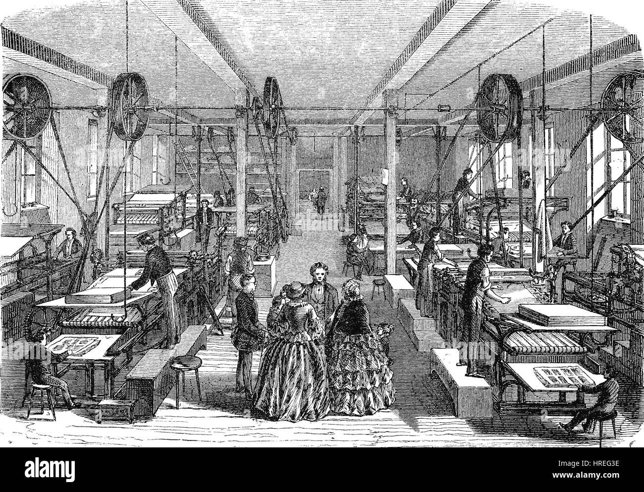 The machinery room, the Offizin of Brockhaus in Leipzig, workshop, factory, Germany, reproduction of an woodcut - Stock Image