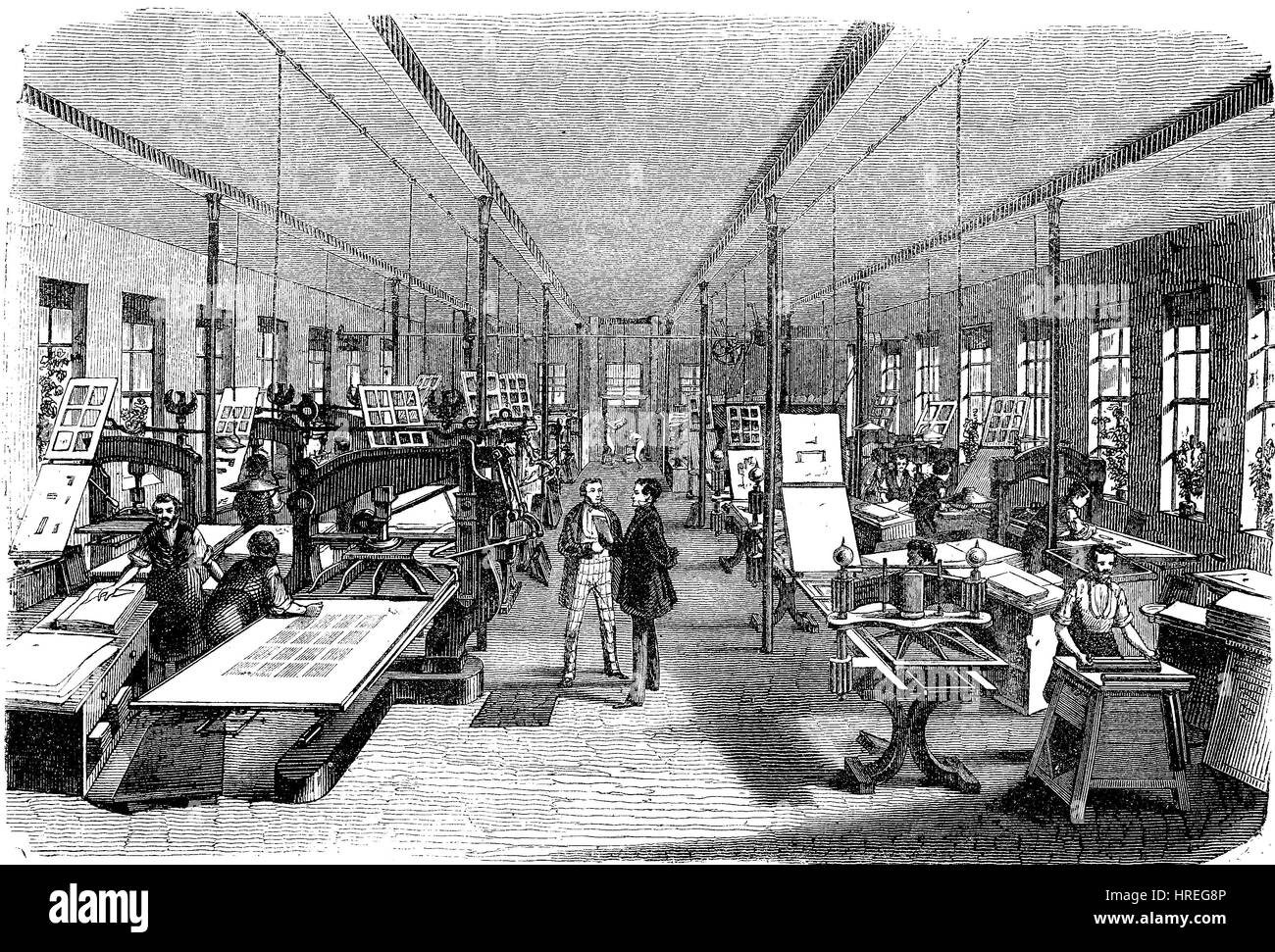 The printing workshop in the Brockhaus Leipzig, publishing company, Germany, reproduction of an woodcut from the - Stock Image