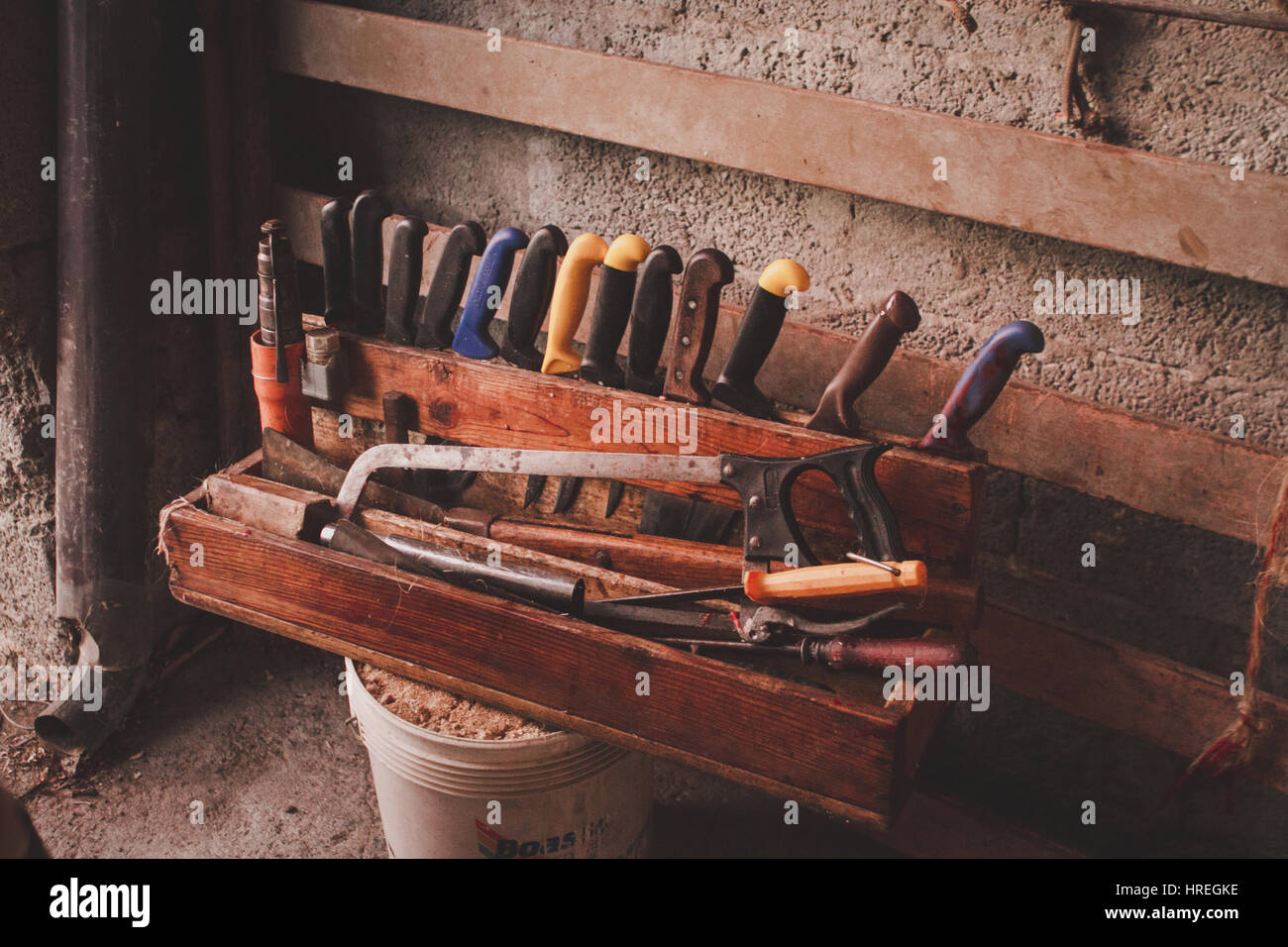 Knifes and tools at a slaughter in Alba, which is located in the province of Piedmont, Italy. - Stock Image