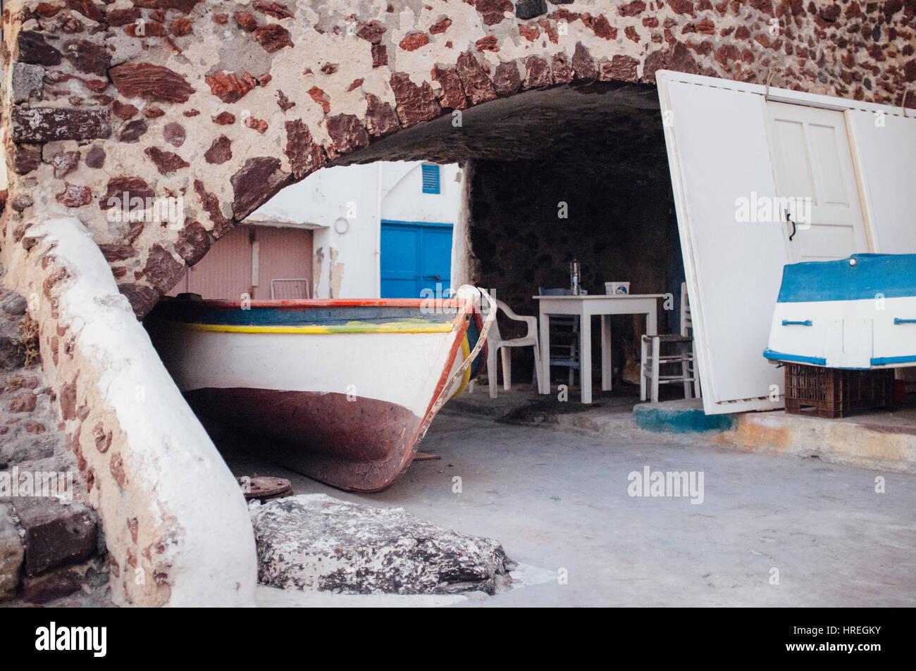 Mediterranean flair in beautiful Santorini, Greece. - Stock Image