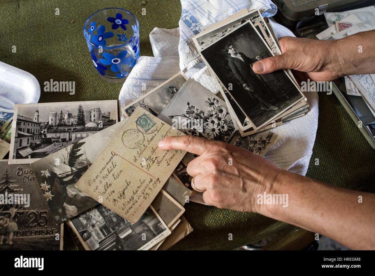 Old Italian postcards. - Stock Image