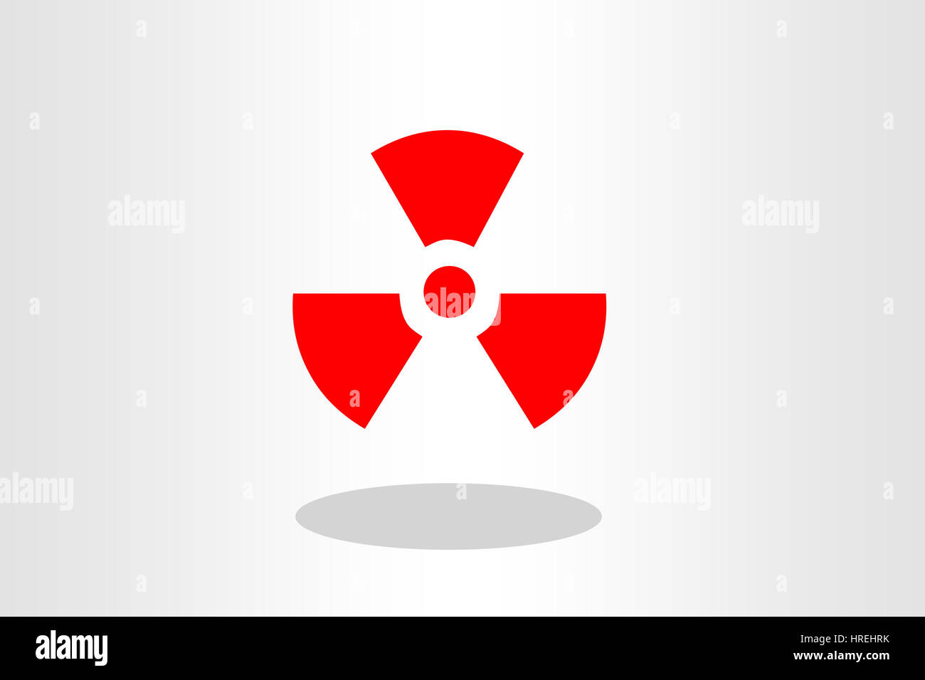 red Radioactive icon radiation symbol on plain background - Stock Image