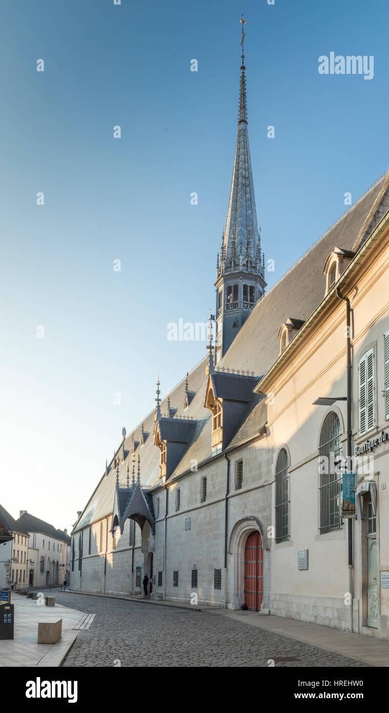 Exterior of Hotel-Dieu, Beaune, Burgundy, France - Stock Image