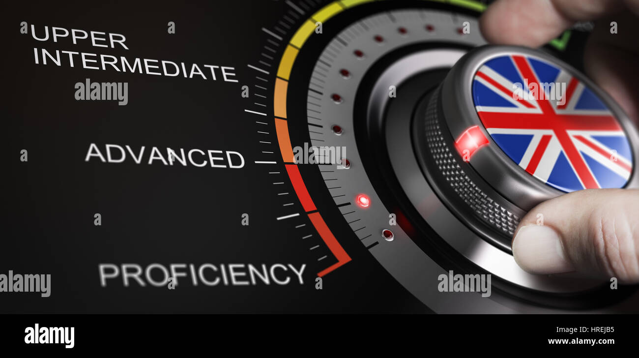 Man turning button with english flag up to proficiency level. Scale of language and progress measurement cncept. - Stock Image