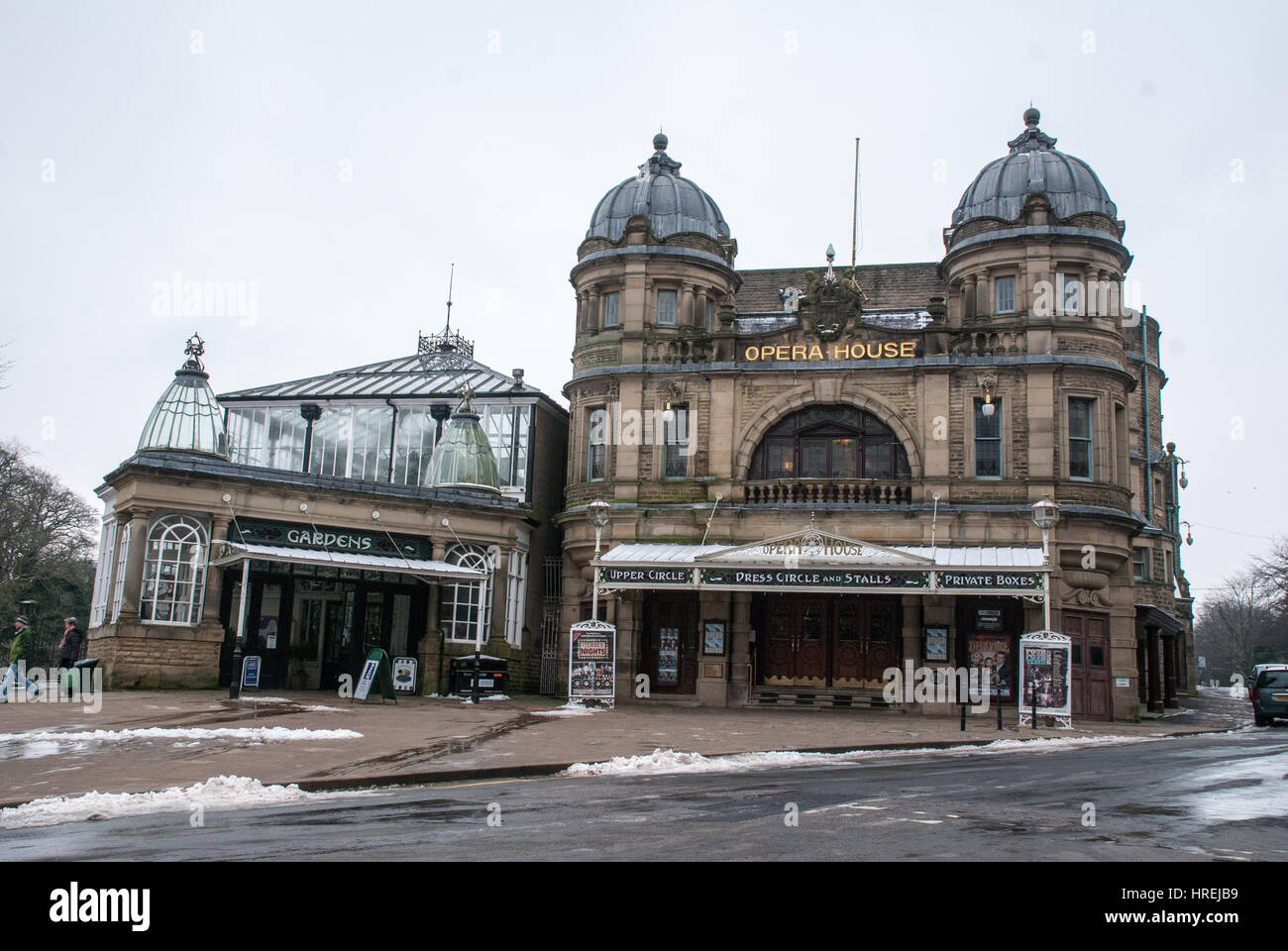The front of Buxton Opera House, Buxton , England, in winter - Stock Image