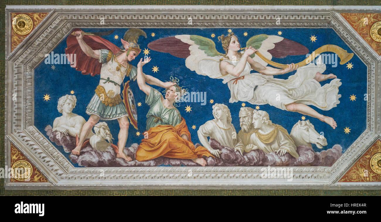 Rome. Italy. Villa Farnesina. Perseus Constellation, ceiling fresco, 1511, by Baldassare Peruzzi (1481–1536), from Stock Photo
