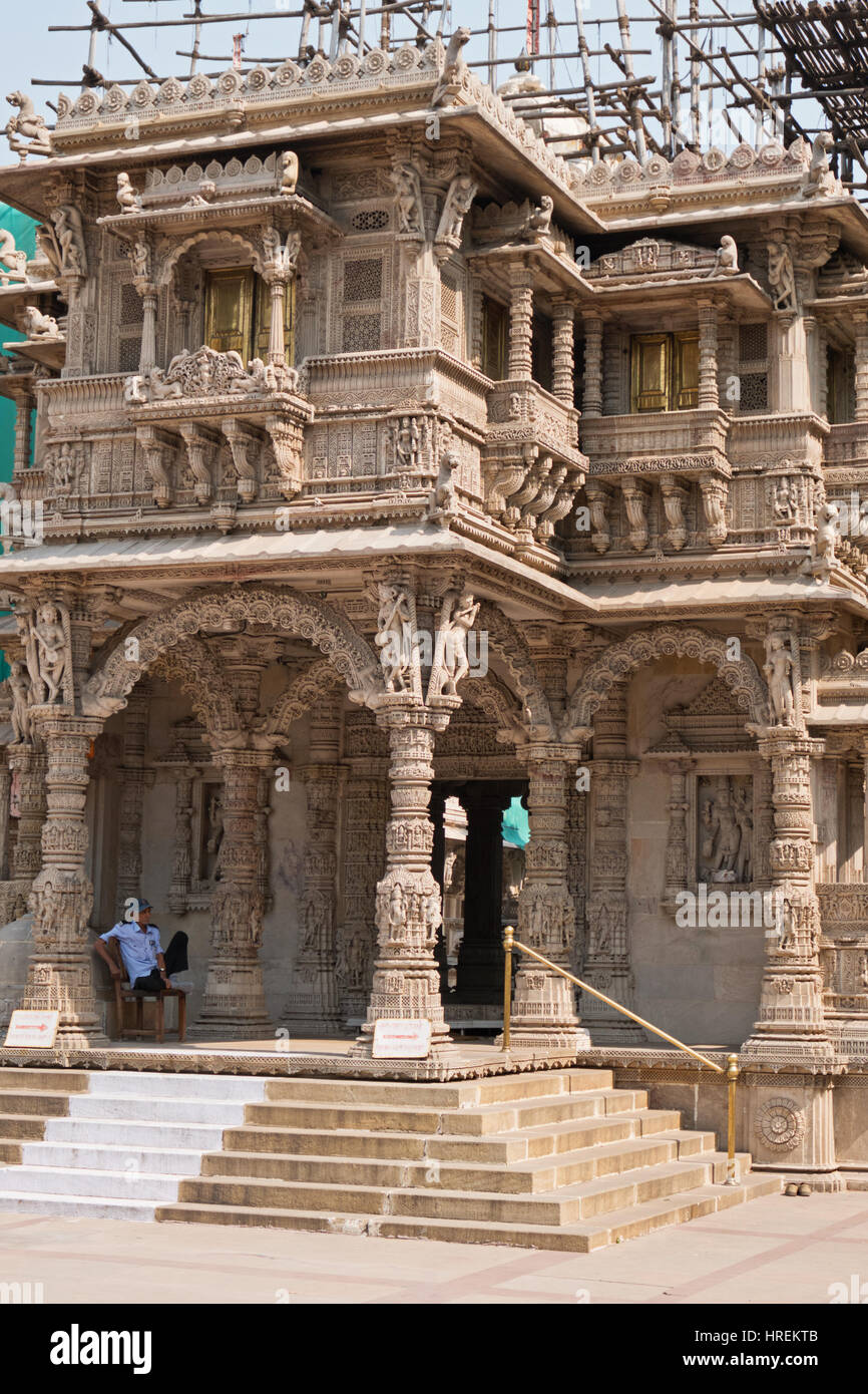 Entrance to the Hathee Singh Jain temple in Ahmedabad, built in the mid-nineteenth century during a time of severe - Stock Image