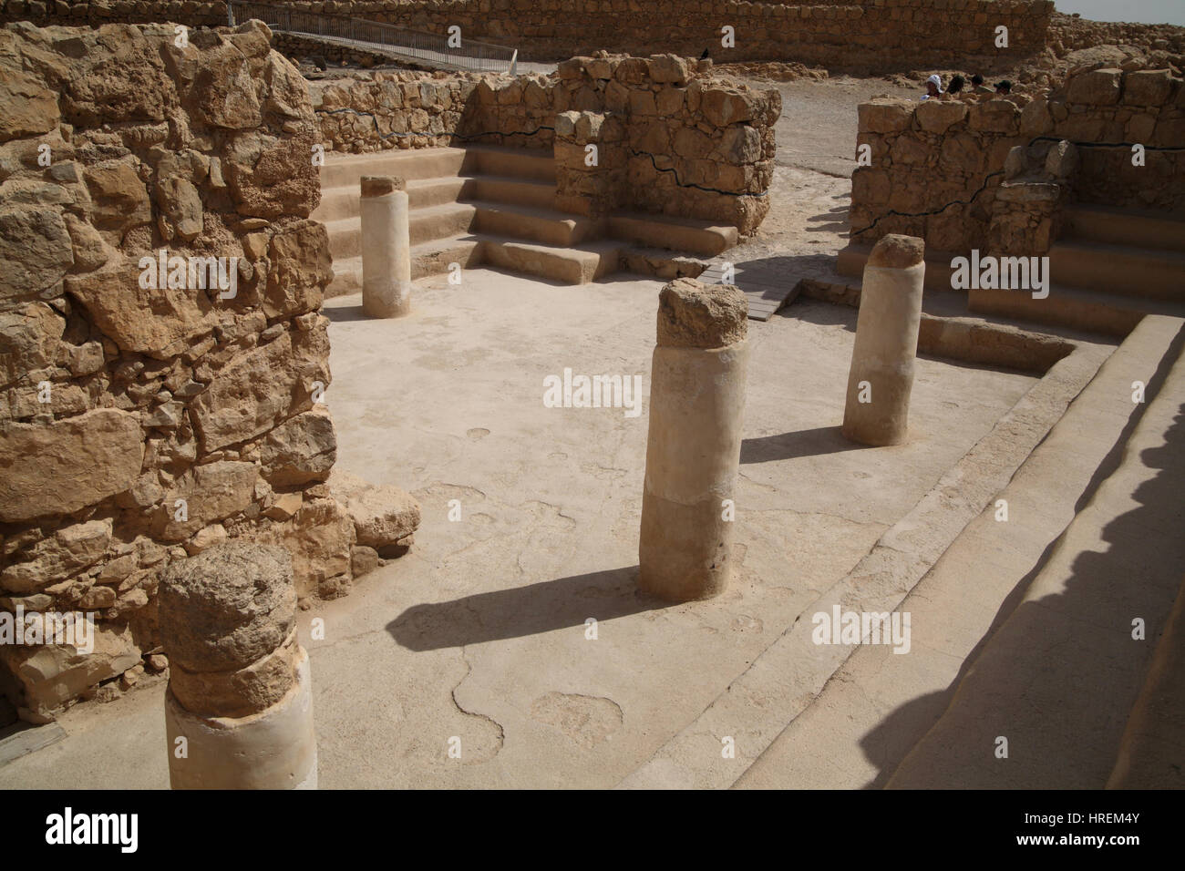 A building with columns and benches built by King Herod the Great and turned to a synagogue by the rebels in the Stock Photo