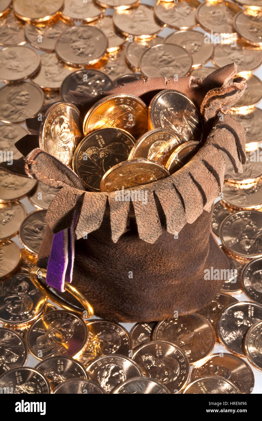 Dollar gold coins with native american sacajawea's image in leather pouch and scattered around pouch - Stock Image