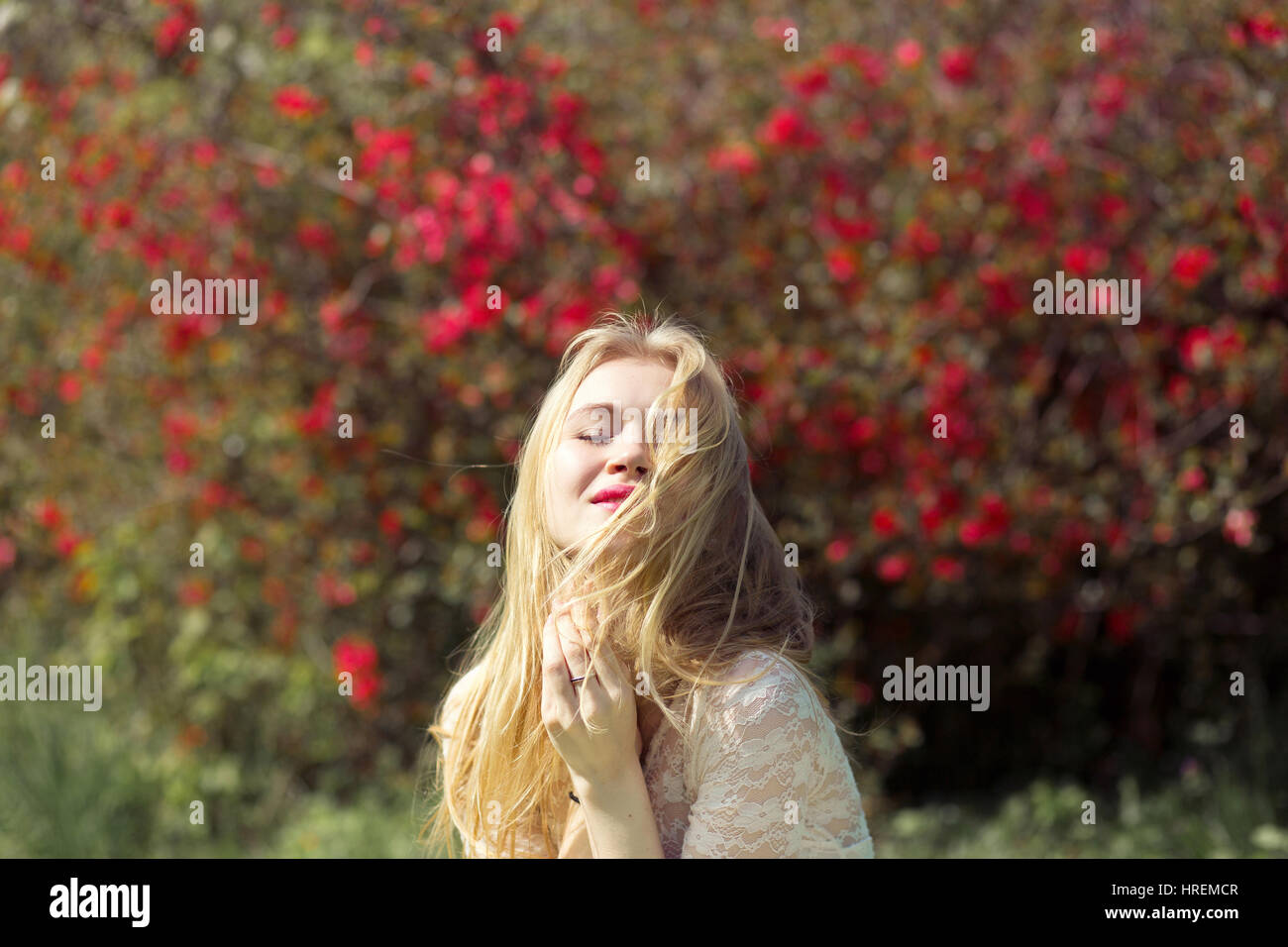 Blonde Young Woman in Spring Garden. Girl with Perfect Natural Make ...