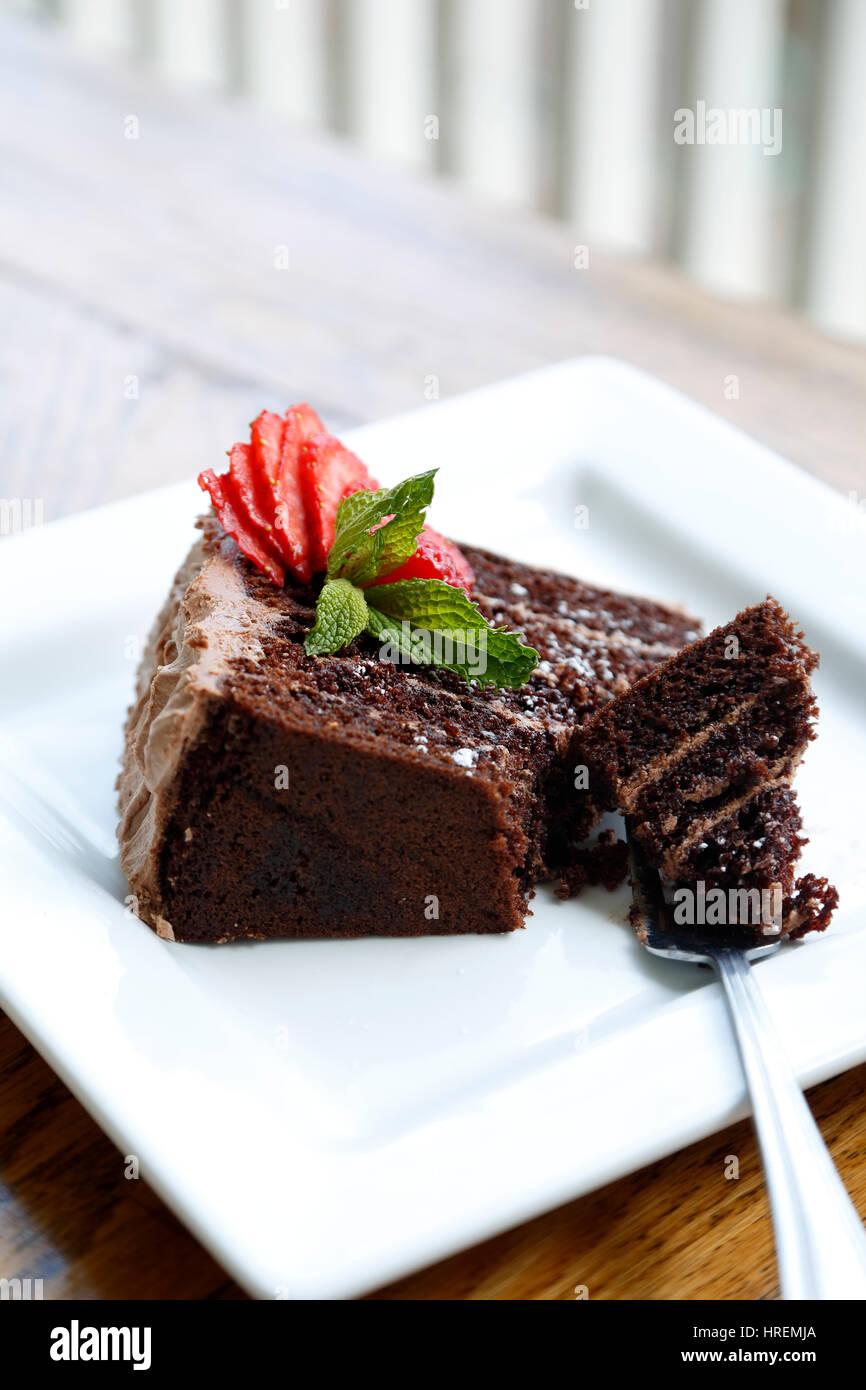 Five Layer Chocolate Cake, Dining Hall, Chautauqua Park, Boulder, Colorado USA - Stock Image