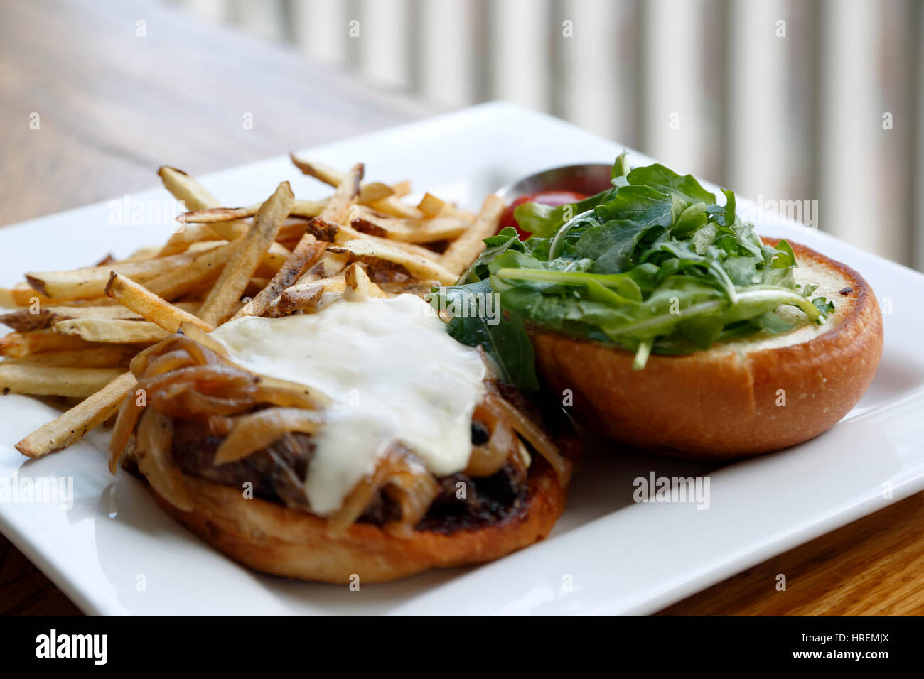 Bison Bistro Burger and fries, Dining Hall, Chautauqua Park, Boulder, Colorado USA - Stock Image