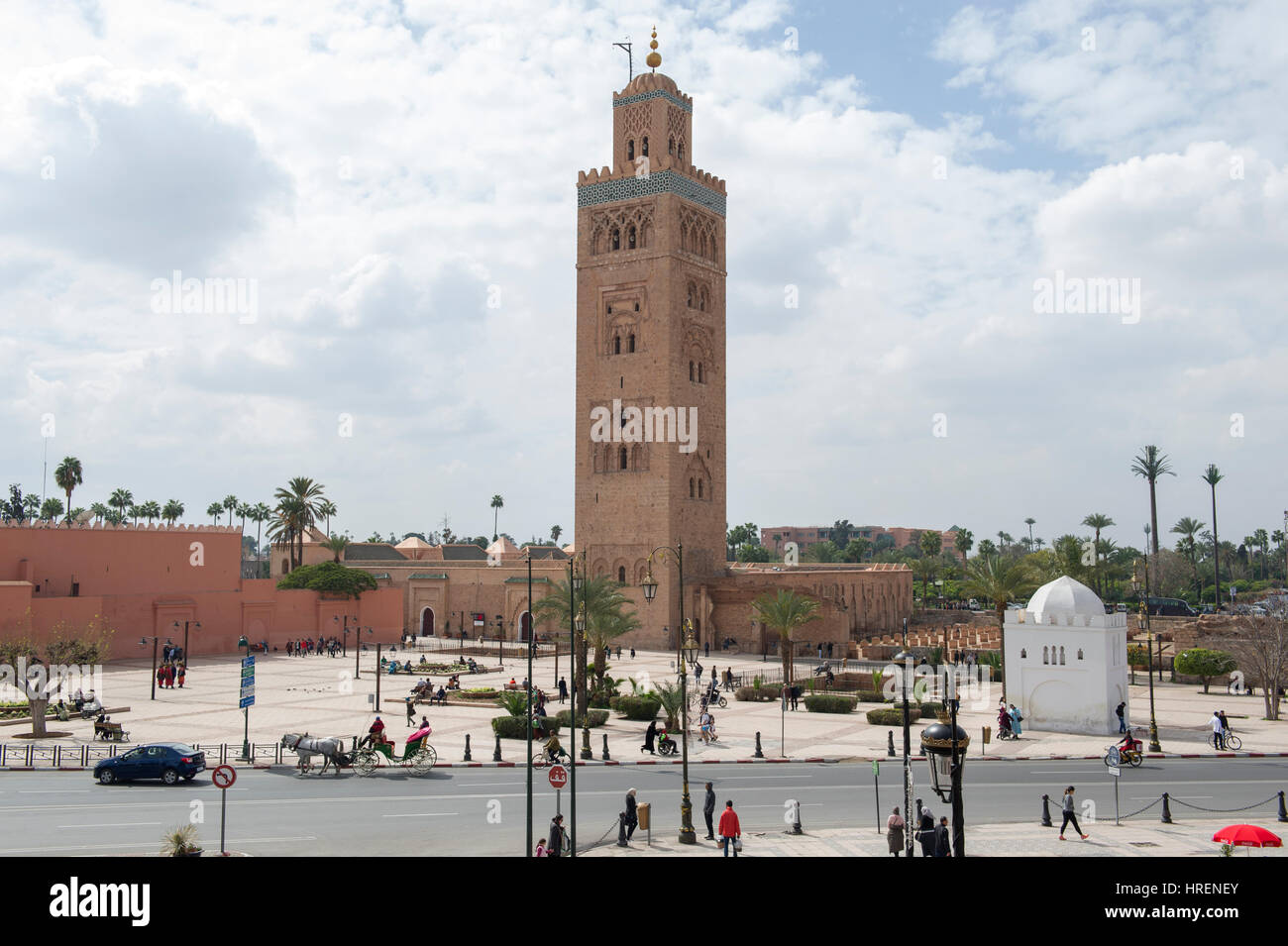 The Koutoubia Mosque near Jemaa el-Fnaa central square in Marrakesh (Marrakech), Morocco Stock Photo